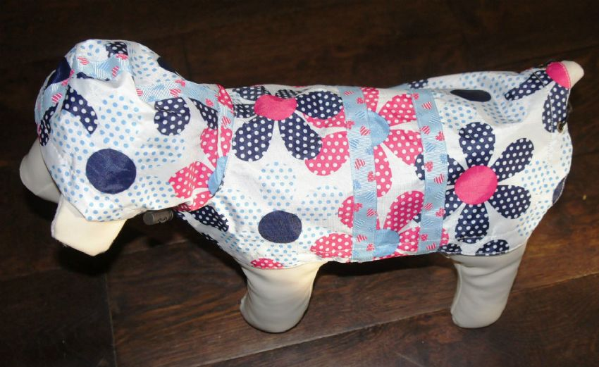 "DOG RAINCOAT WITH HOOD - FLOWERS , SPOTS AND HEARTS 10""-18"" CLEARANCE SALE"